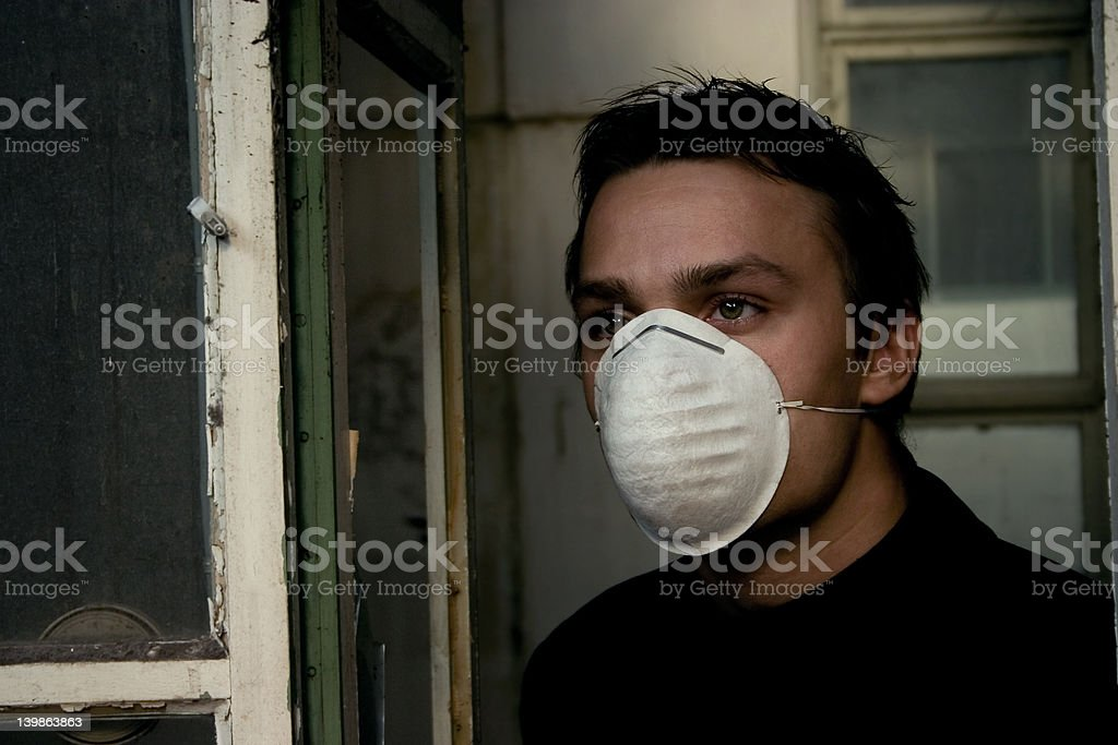 Man Protected Against Pollution royalty-free stock photo