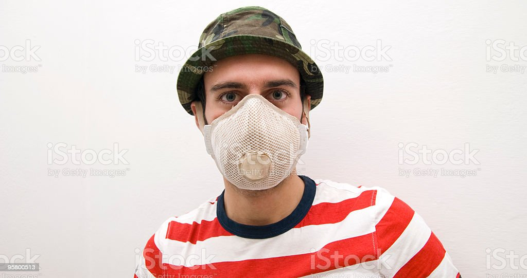 man protects himself from the influence stock photo