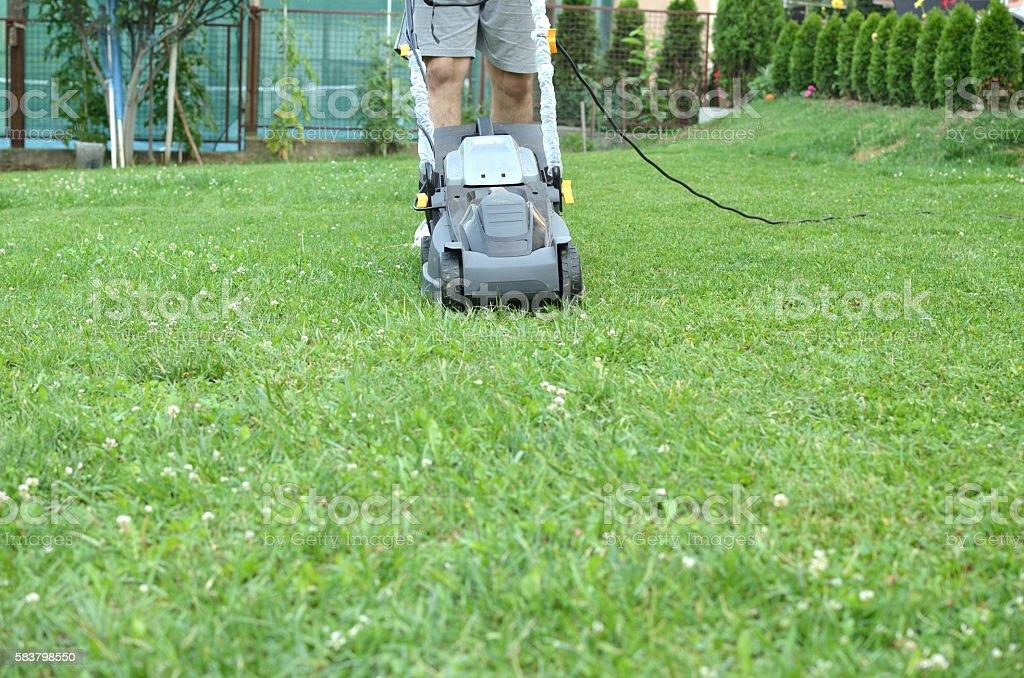 Man Pushing a Lawn Mower stock photo