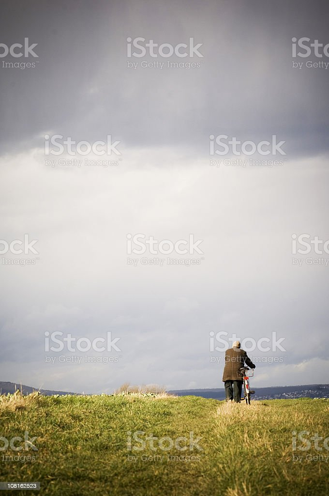 Man Pushing Bicycle Through Field on Cloudy Day royalty-free stock photo