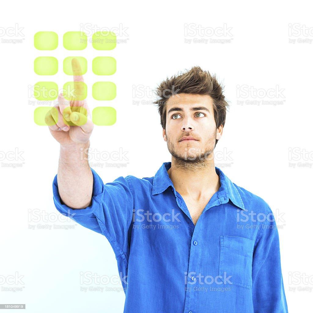 Man pushing secret code royalty-free stock photo