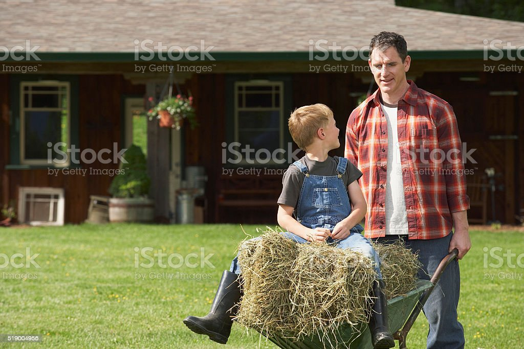 Man pushing wheelbarrow on farm stock photo