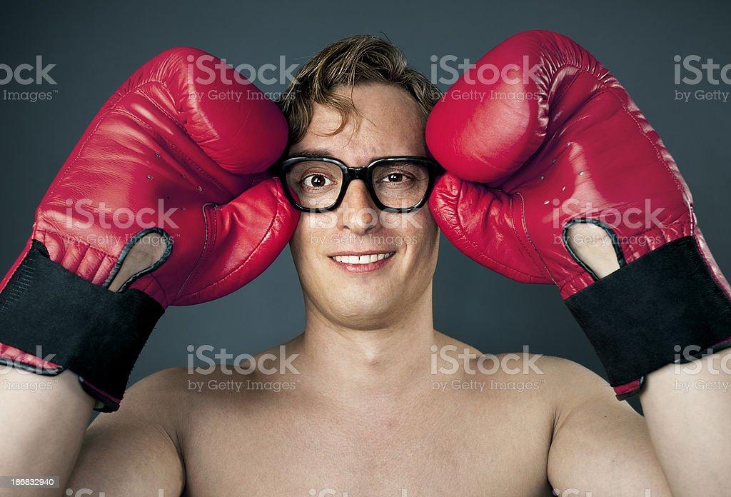 Man putting glasses royalty-free stock photo