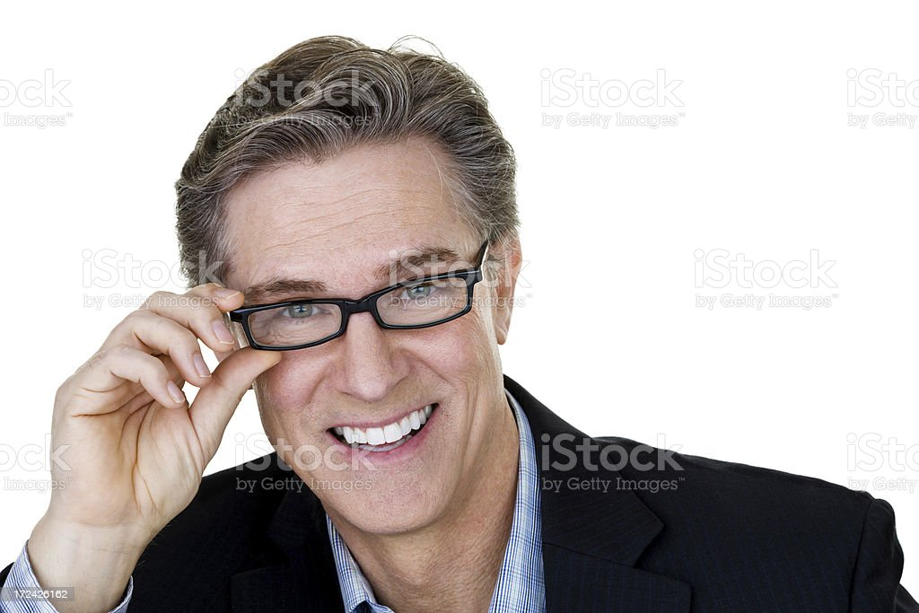 Man putting on eyeglasses royalty-free stock photo