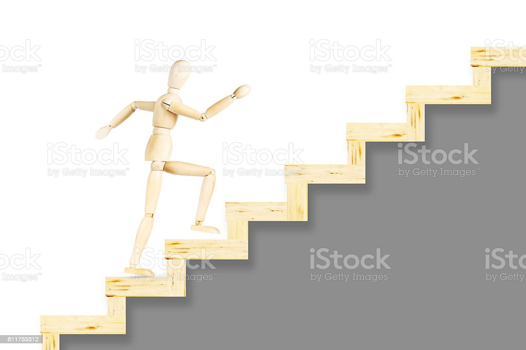 Man quickly going upstairs stock photo