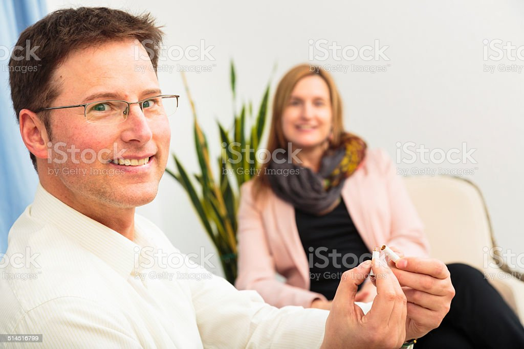 man quit smoking after seeing a psychotherapist stock photo
