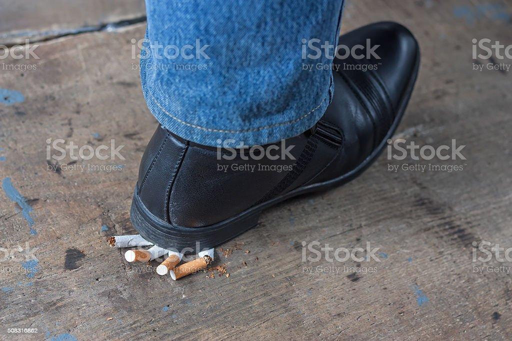 Man quit smoking stock photo