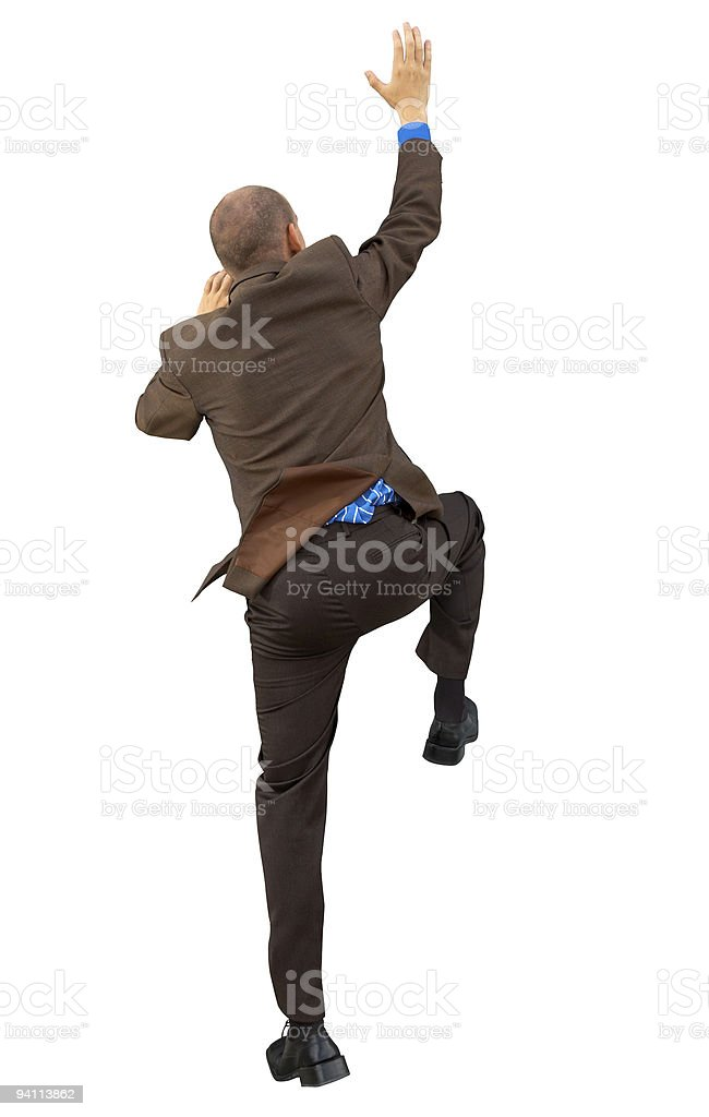 Man reach up(with clipping path) royalty-free stock photo