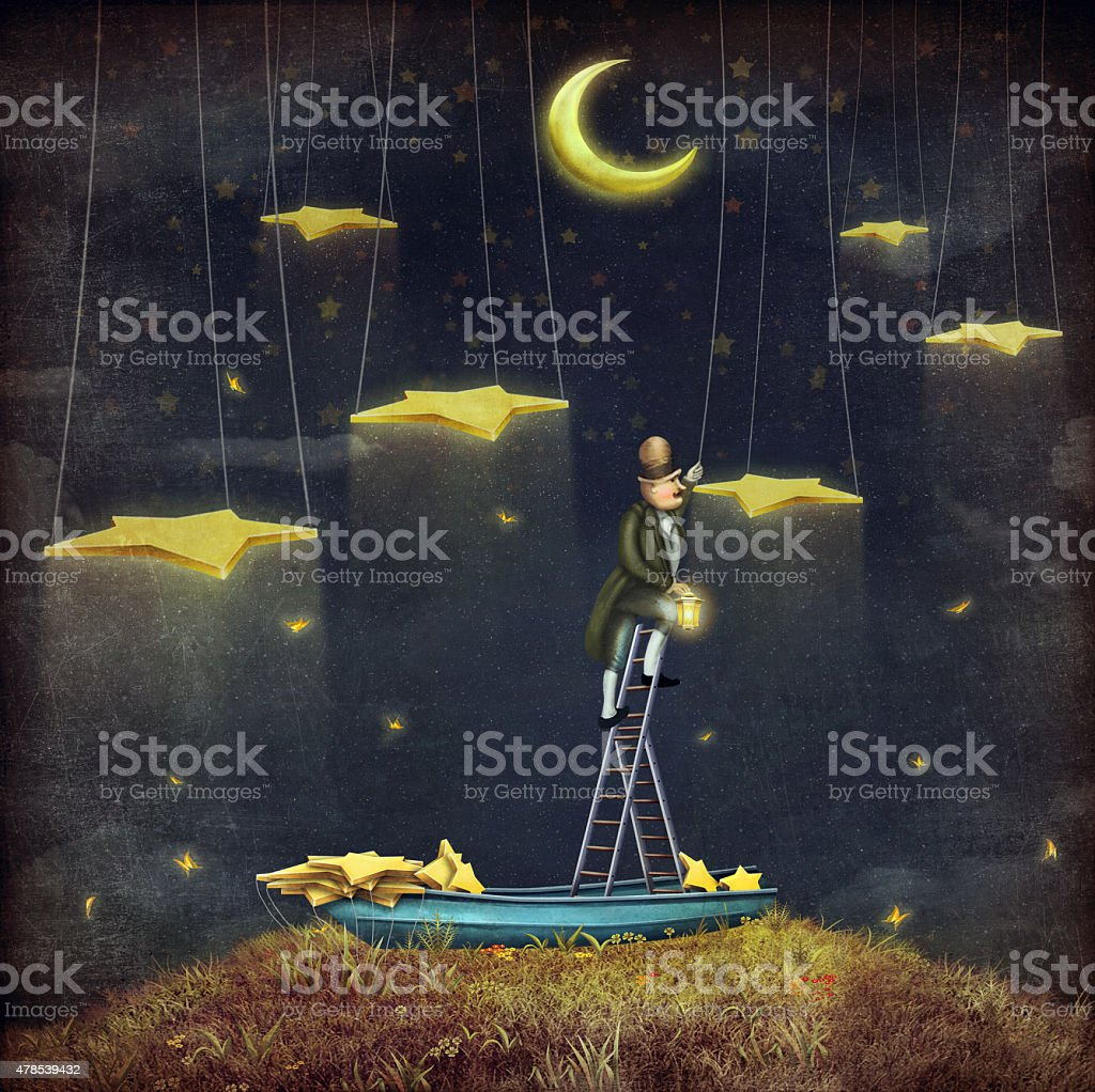 Man reaching for stars  at top of tall ladder stock photo