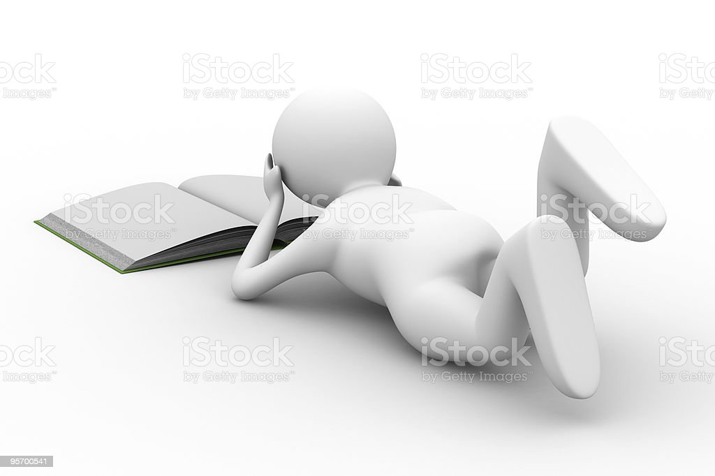 man read book on white background. Isolated 3D image royalty-free stock photo