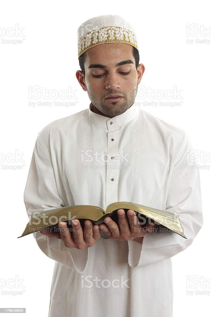 Man reading a religious or other book royalty-free stock photo