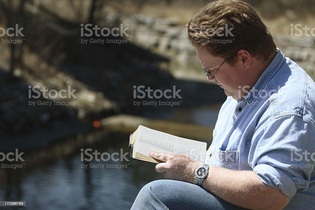 Man Reading Bible royalty-free stock photo