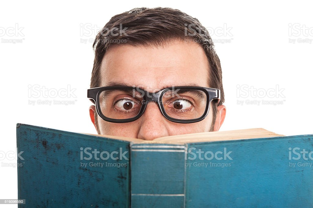 Man Reading Hardcover Book stock photo