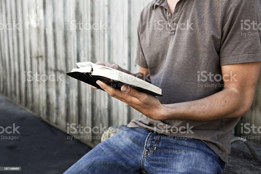 Man reading his Bible royalty-free stock photo
