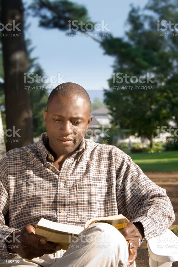 Man Reading in the Evening royalty-free stock photo