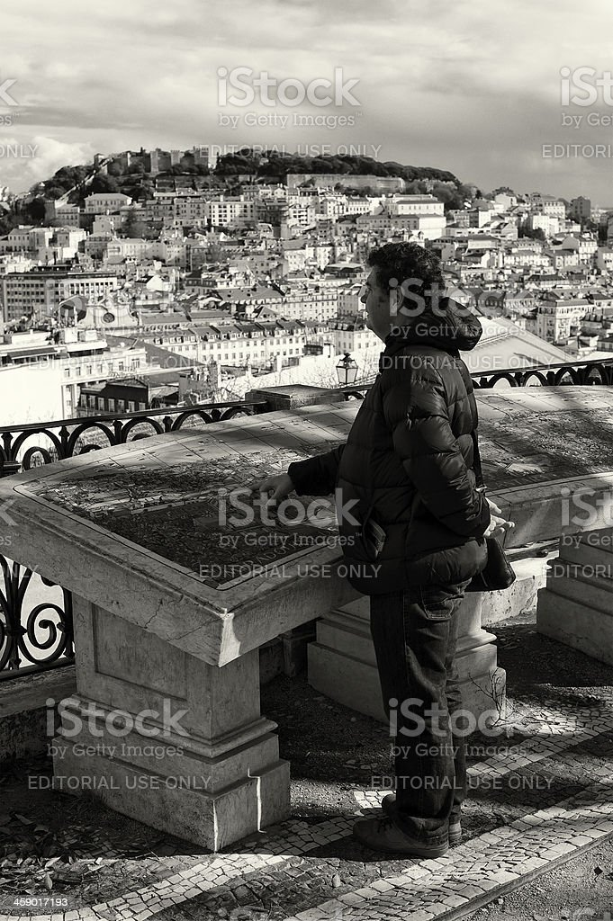 Man Reading Map in Lisbon royalty-free stock photo