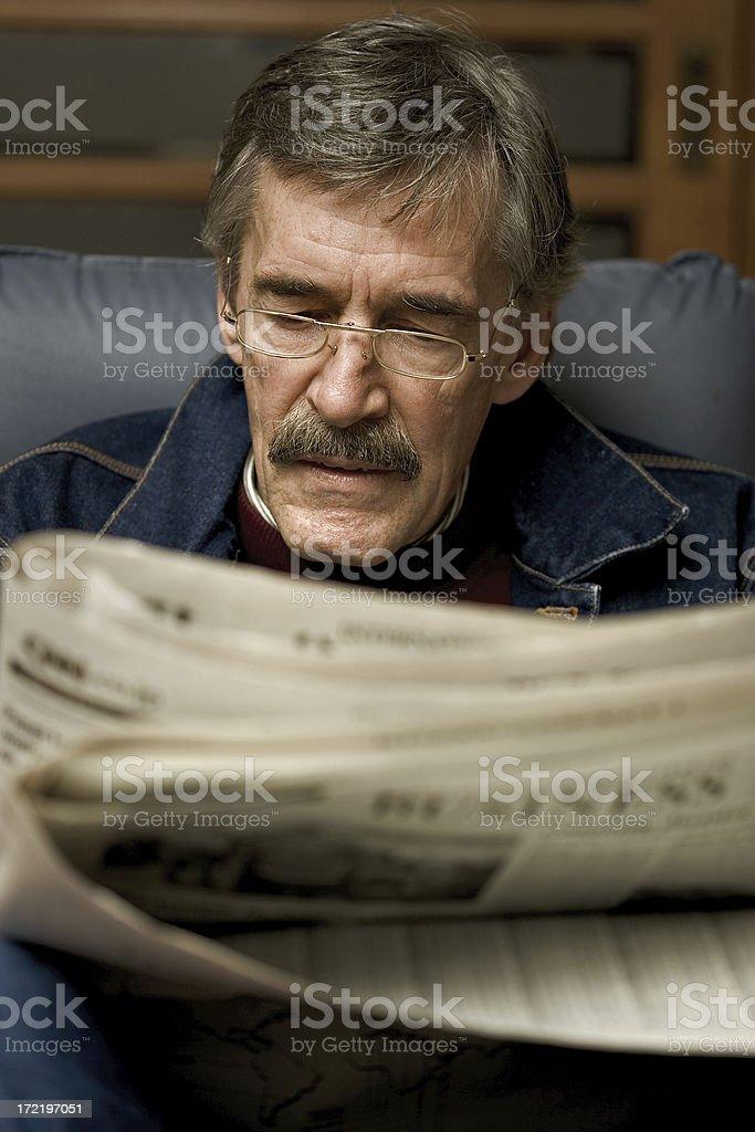 Man Reading Newspaper 02 royalty-free stock photo