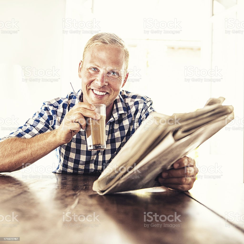 Man reading the news royalty-free stock photo