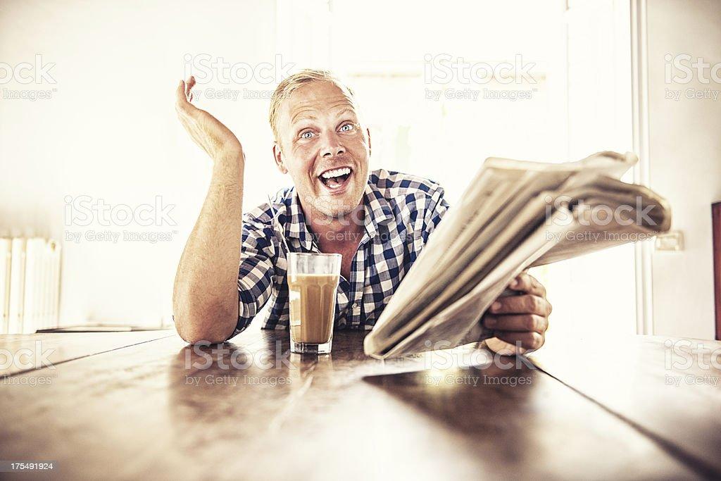 Man reading the news royalty-free stock photo