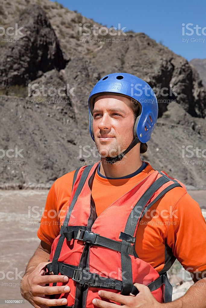 Man ready for white water rafting royalty-free stock photo