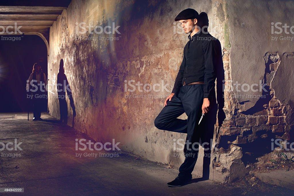Man ready to fight stock photo