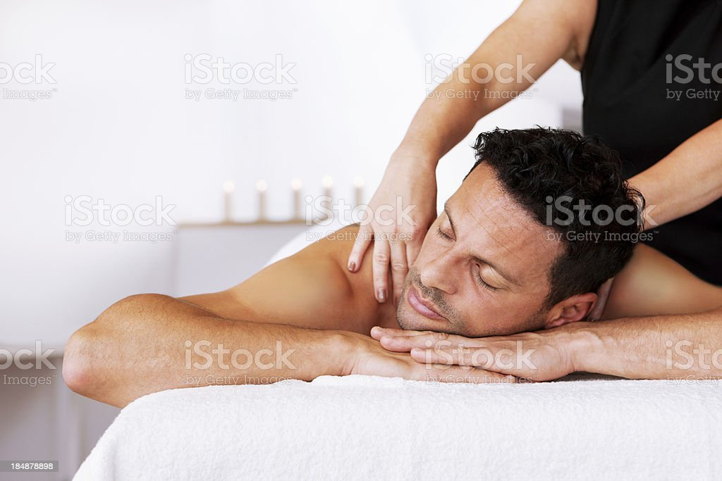 Man Receiving a Back Massage royalty-free stock photo