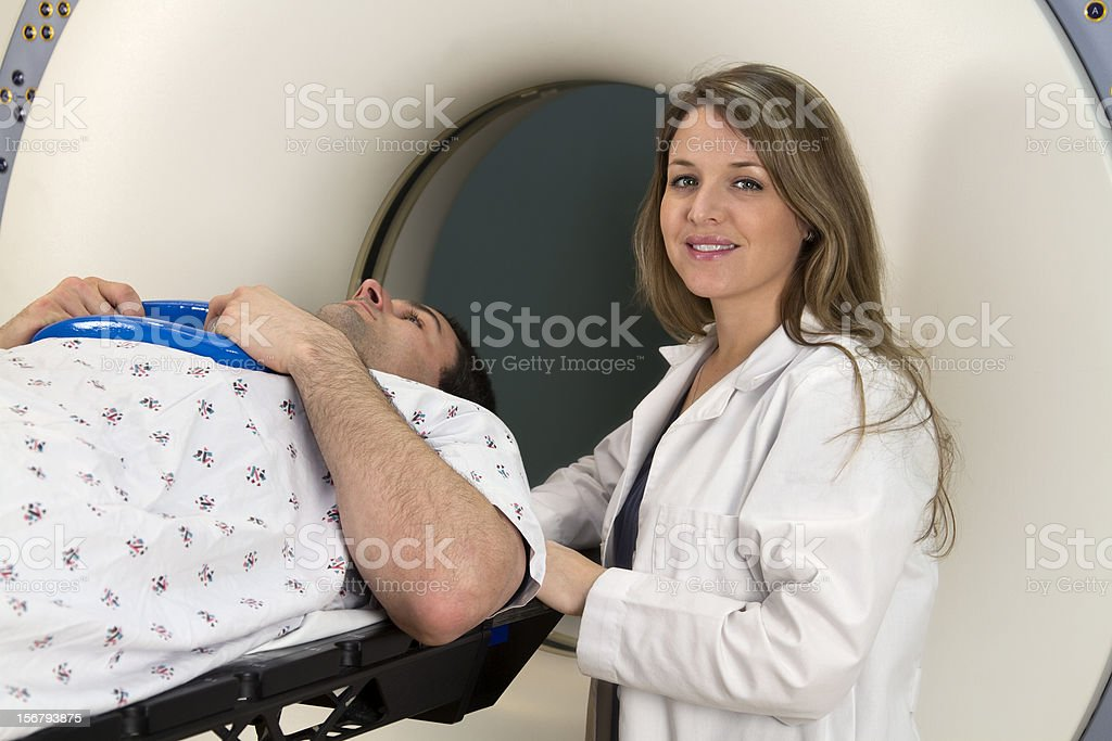 Man Receiving a CAT Scan royalty-free stock photo