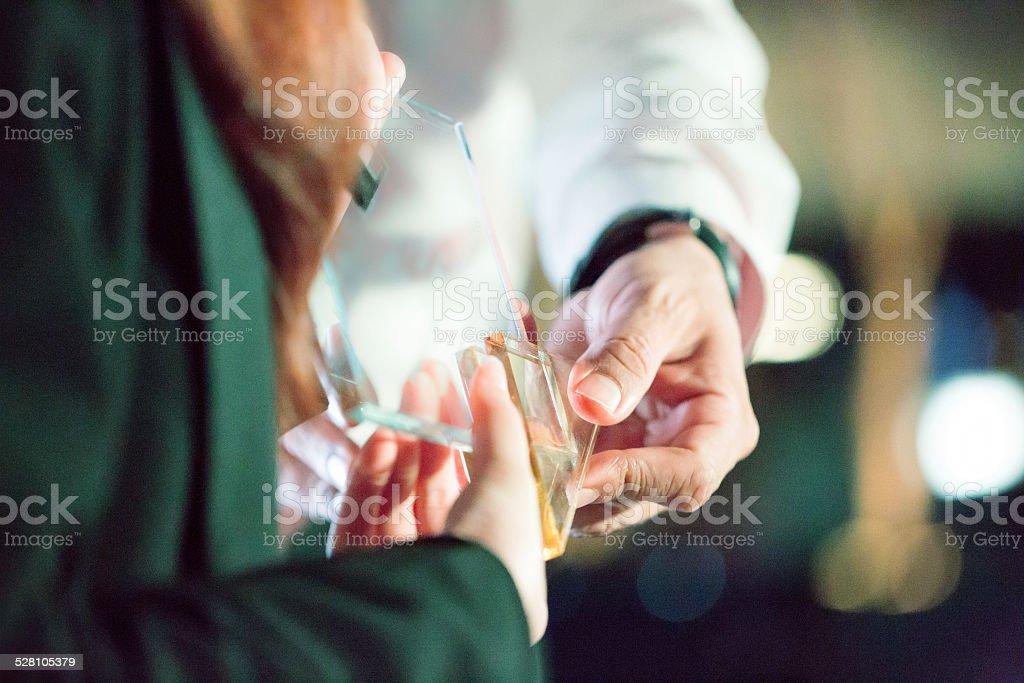 Man receiving award stock photo