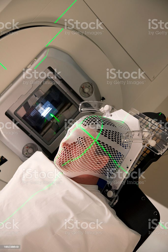 Man Receiving Radiation For Brain Tumor stock photo