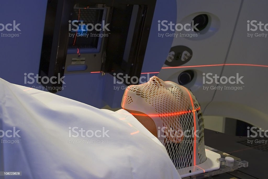 Man Receiving Radiation Treatments for Brain Cancer stock photo