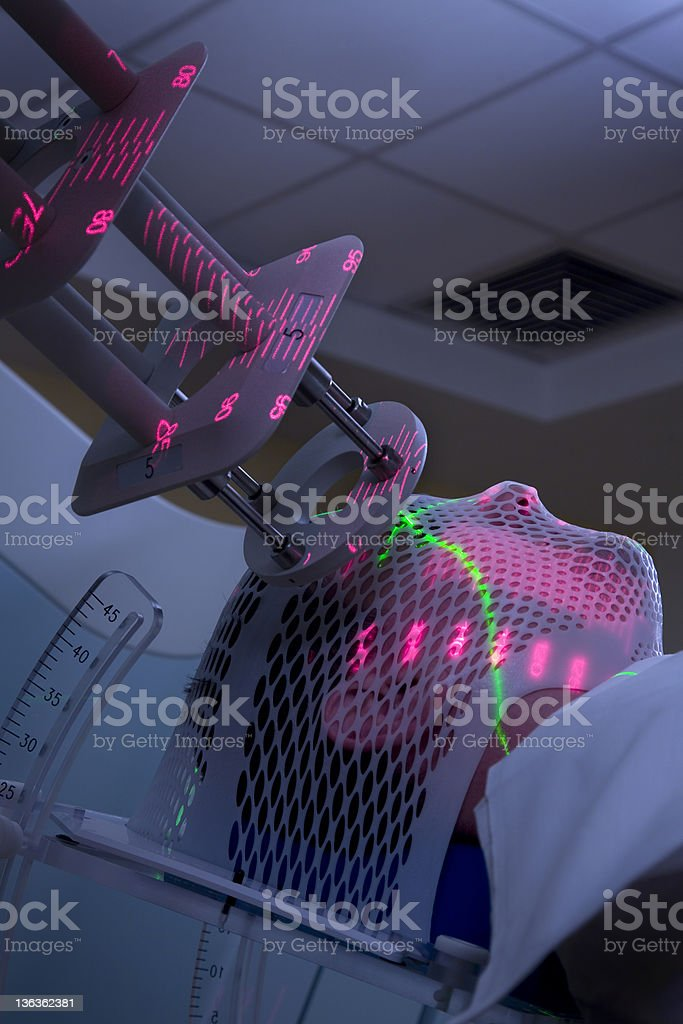 Man Receiving Radiotherapy Treatments for Cancer stock photo