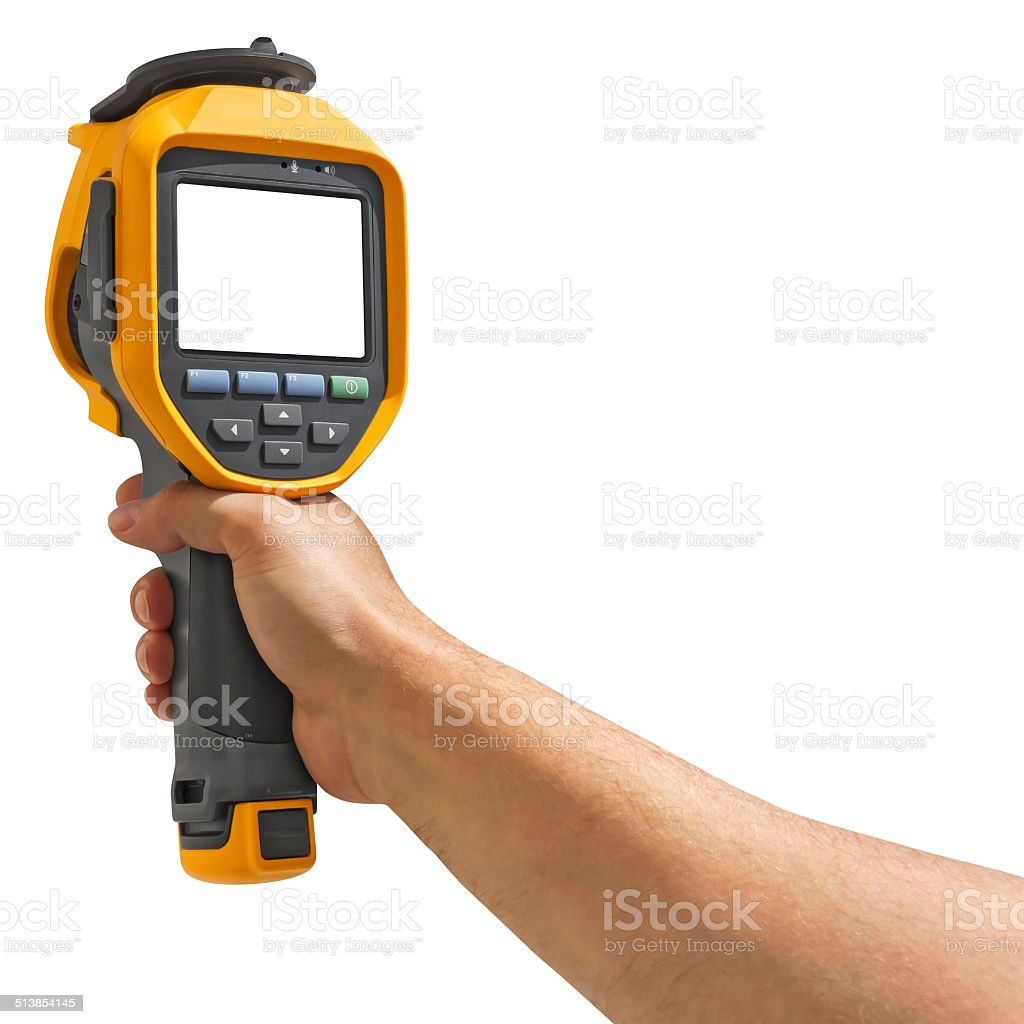 Man recording with thermal camera stock photo