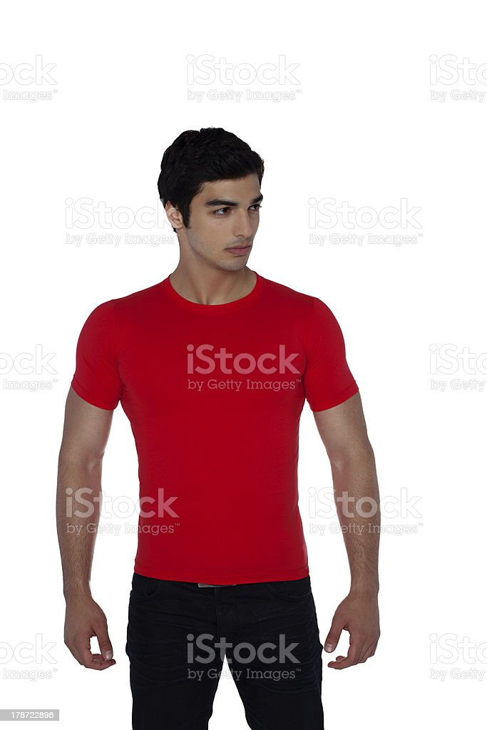 Man red t-shirt stock photo