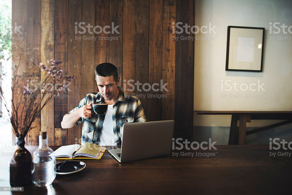 Man Relax Lifestyle Working Coffee Shop Concept stock photo