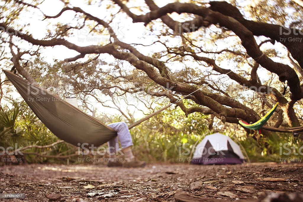 Man relaxes in hammock while camping under tree royalty-free stock photo