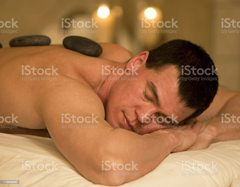 Man Relaxing At A Health Spa royalty-free stock photo