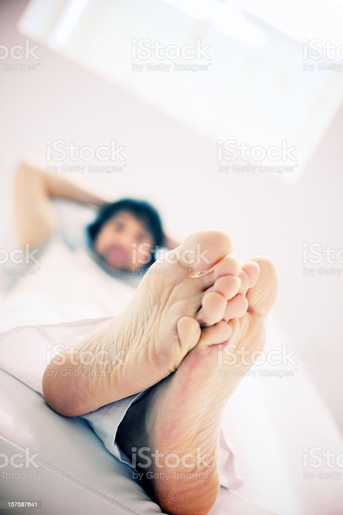 man  relaxing barefoot crossed royalty-free stock photo