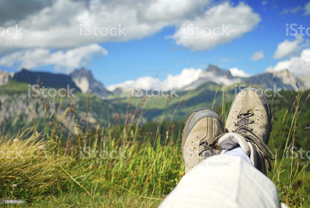 Man relaxing in an alpine meadow stock photo