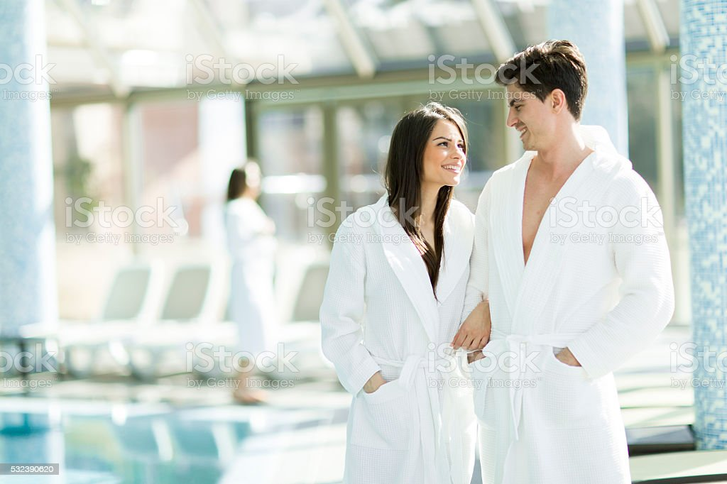 Man relaxing in the spa stock photo