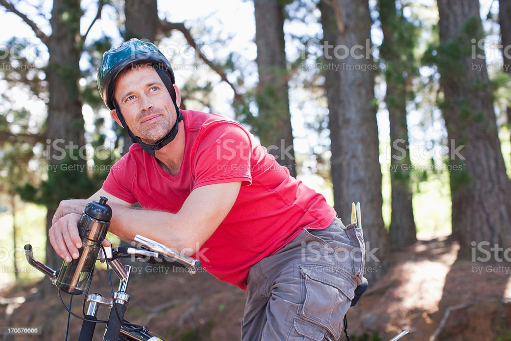 Man relaxing on bicycle royalty-free stock photo