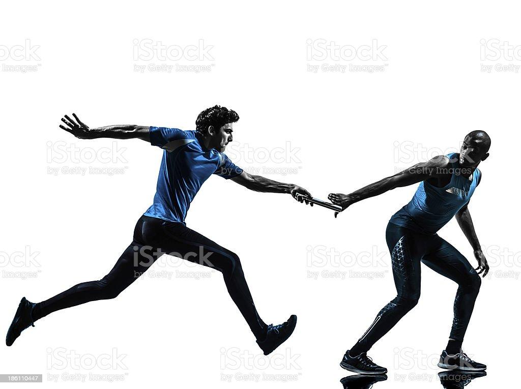 man relay runner sprinter silhouette stock photo