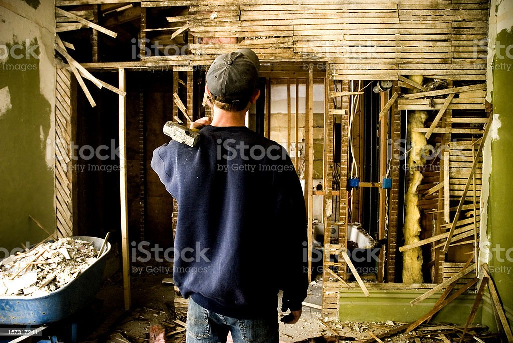 Man Remodeling a Home royalty-free stock photo