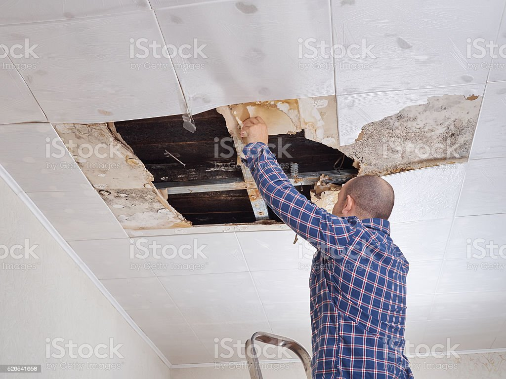 Man repairing collapsed ceiling. stock photo