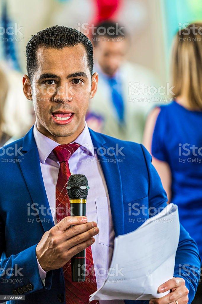 Man reports breaking news stock photo