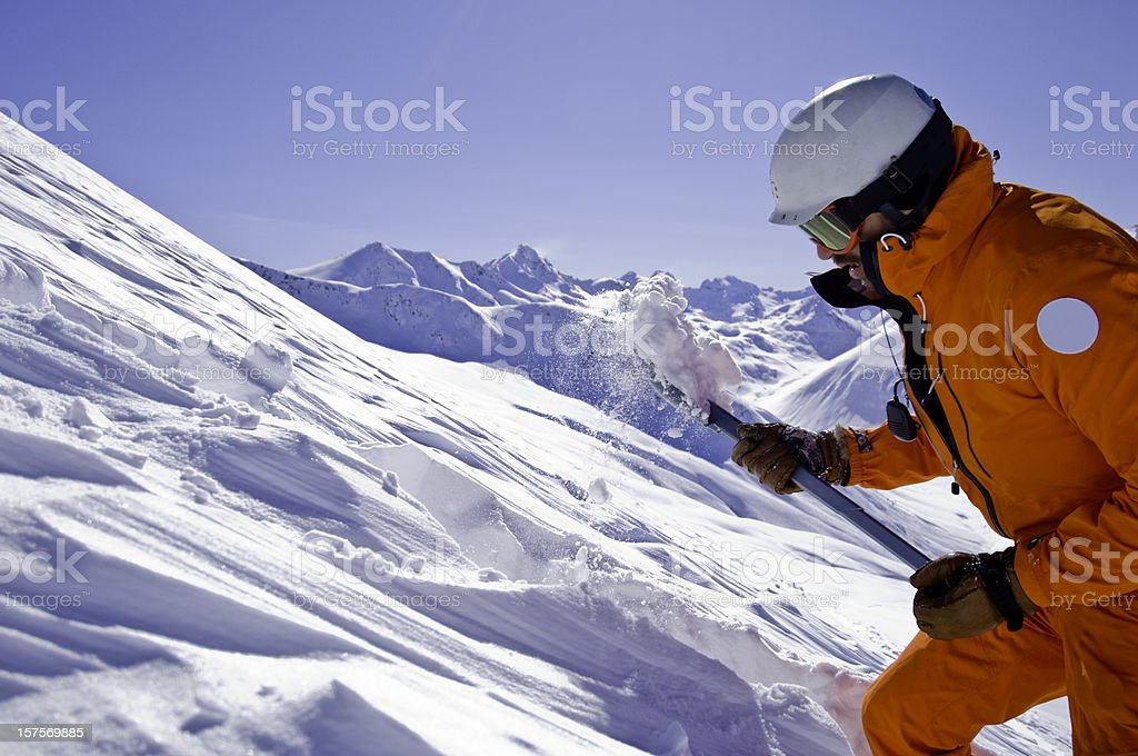 Man Rescuer avalanche stock photo