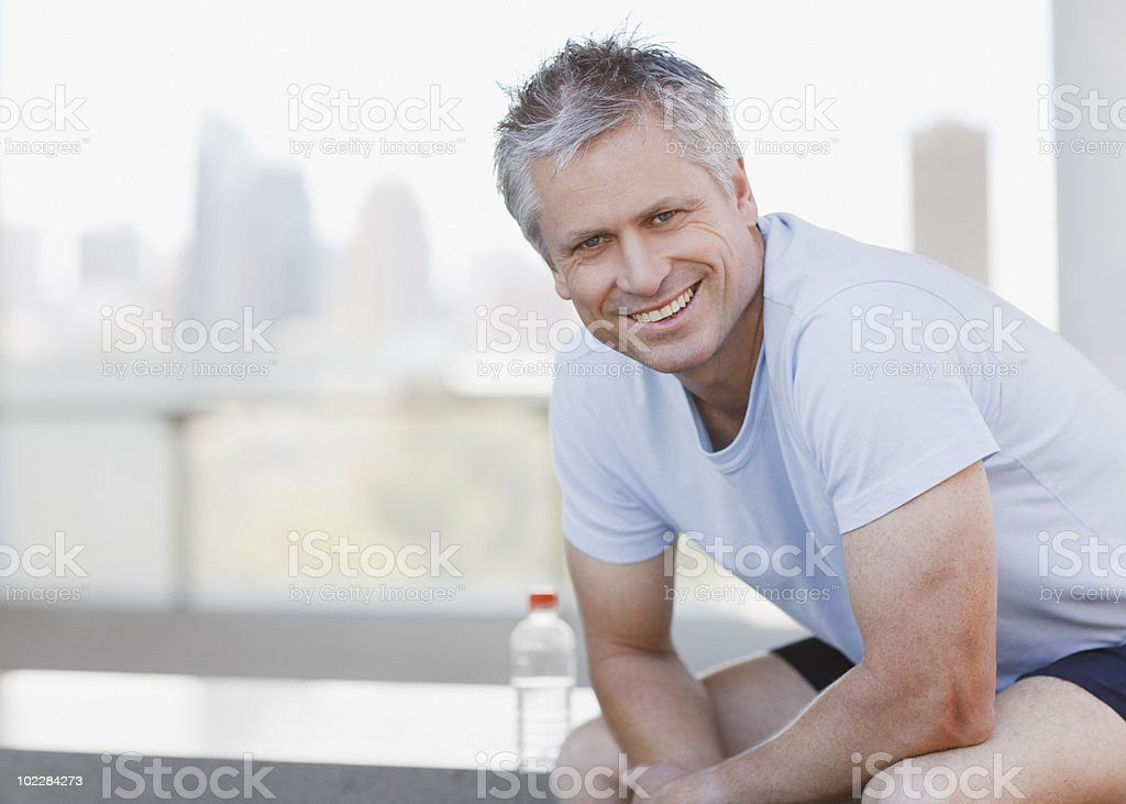 Man resting after exercise royalty-free stock photo