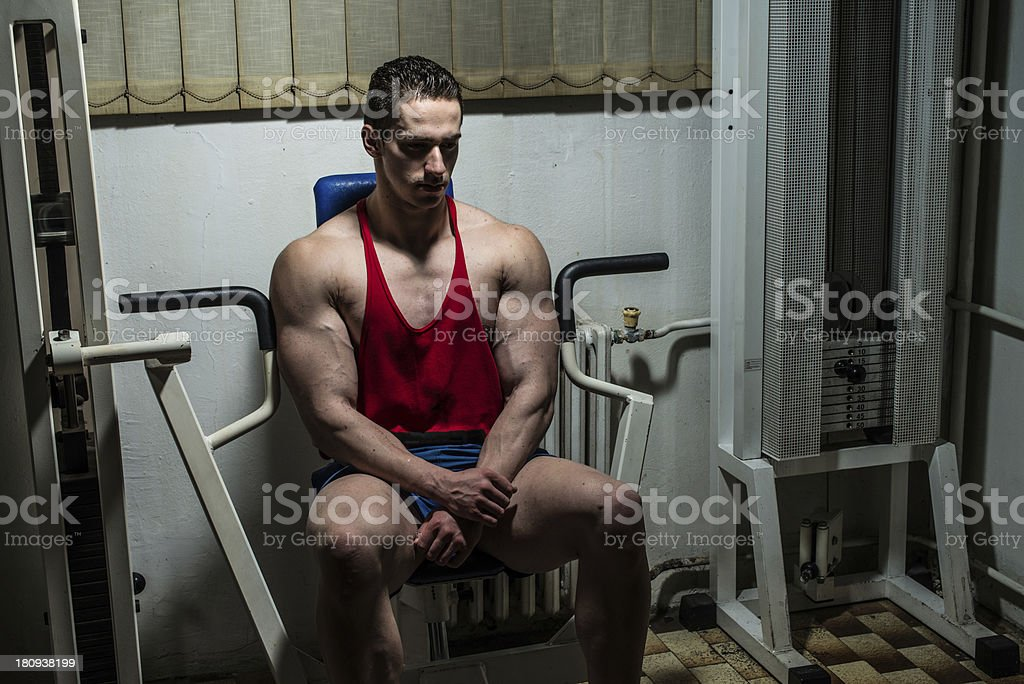 Man Resting After Exercises In Gym royalty-free stock photo
