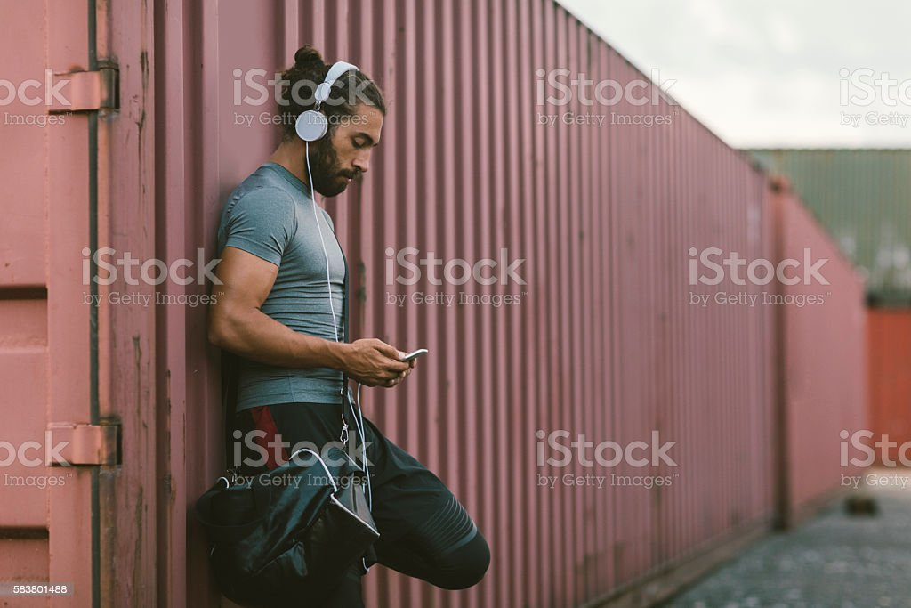 Man Resting After Running. stock photo
