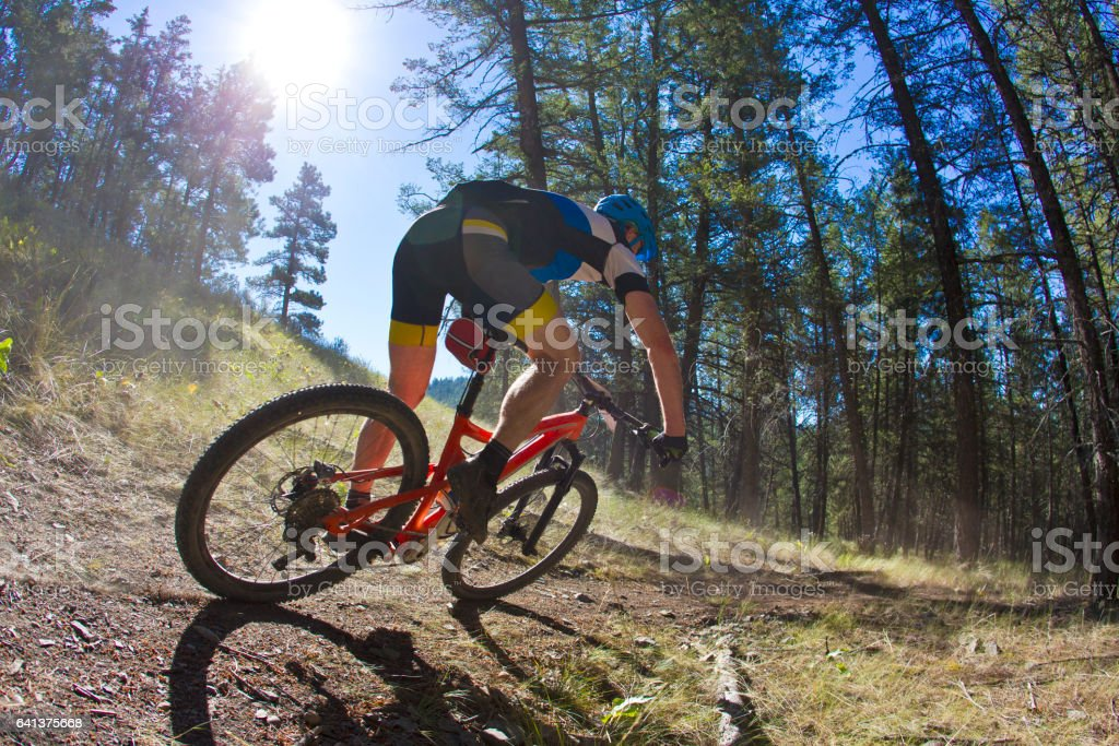 A man rides a high speed corner while competing in a cross-country mountain bike race on a sunny day. stock photo