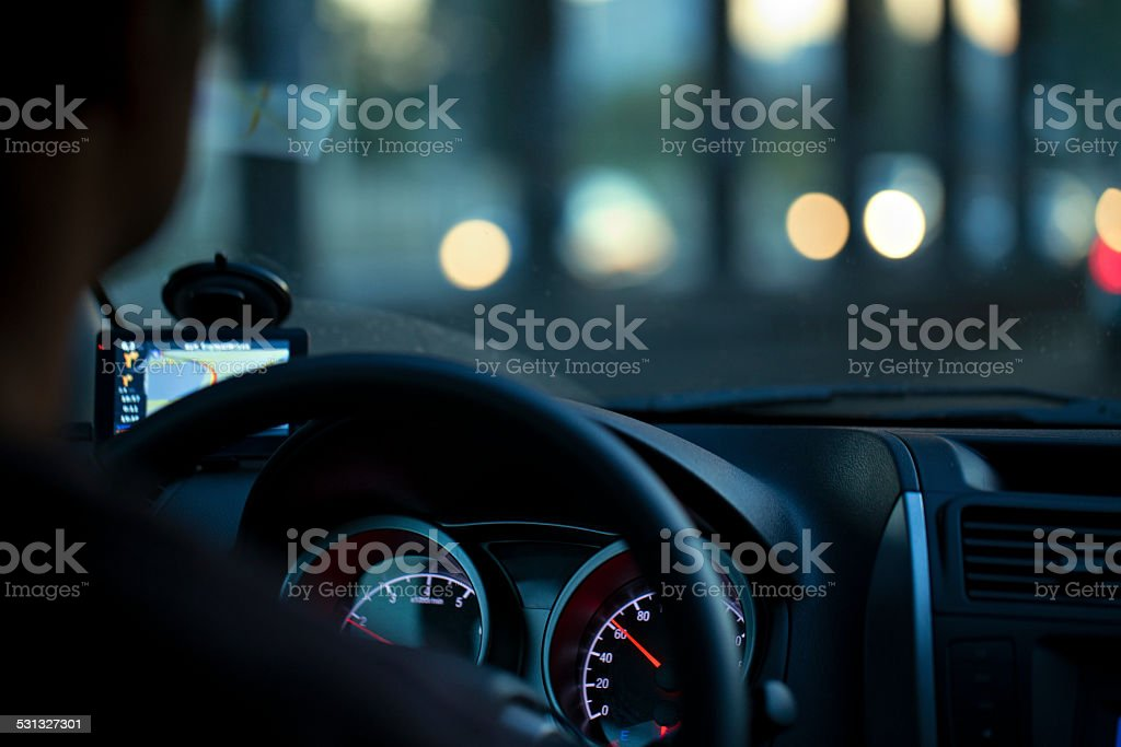 Man rides in the car. stock photo